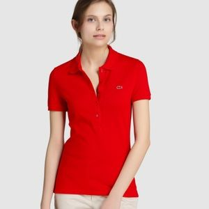 LACOSTE Women's Red Coral Polo Shirt Size 40